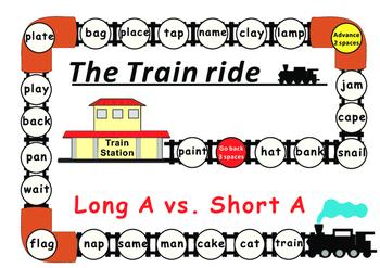 Long Vowels vs Short Vowels Game Boards