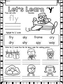 Long Vowels (-y) No Prep Phonics Printables