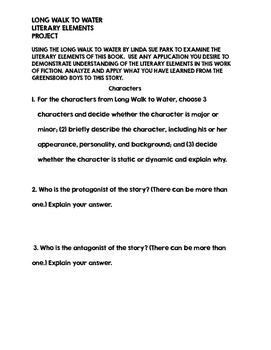 Long Walk to Water Literary Elements Lesson Idea