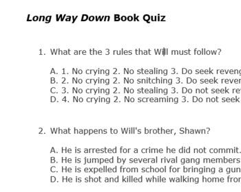 Long Way Down by Jason Reynolds Multiple Choice Test