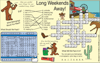 Long Weekends Away Two-Page Activity Set
