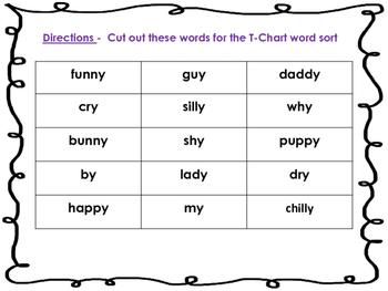 Long Y Vowel Word Sort