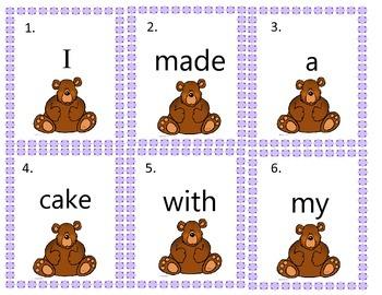 Long a Cvce bear themed write the room sentence