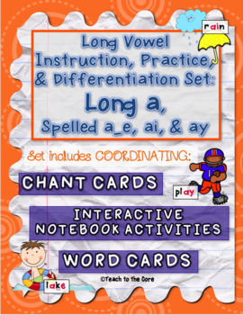 Long Vowel Teams Activities: Long a, Spelled a_e, ai, & ay