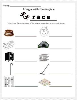 Long a Magic e Worksheet