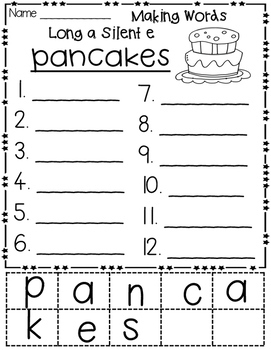 Long a Silent e Hands-on Spelling and Phonics
