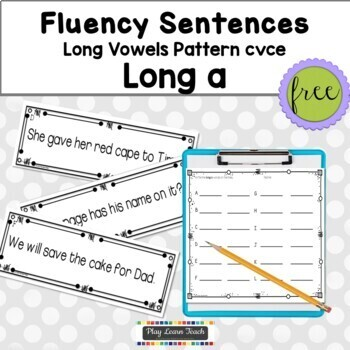 Fluency Sentences Long a CVCe Reading Intervention - FREE