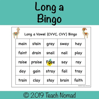 Long a Vowel Team Bingo (CVVC, CVV)