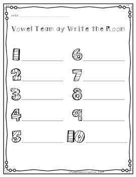 Long a Vowel Teams Write the Room