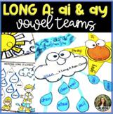 Long a Vowel Teams:  ay & ai - Craftivities, Sorts, QR Code Hunt and more!