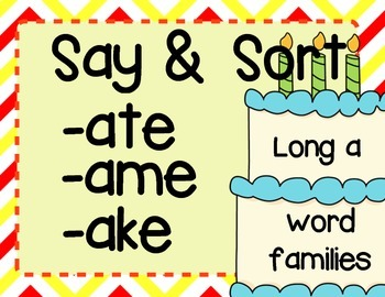 Long Vowel Patterns {Long a} Word Family Sort