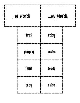 Long a-ai, _ay Word Sort