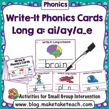 Long a (ai, ay, a_e) Write It Phonics Cards