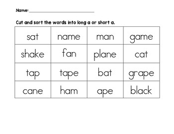 Long a and Short a word sort