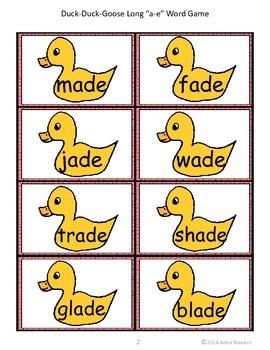 Long a-e Duck-Duck-Goose Word Game