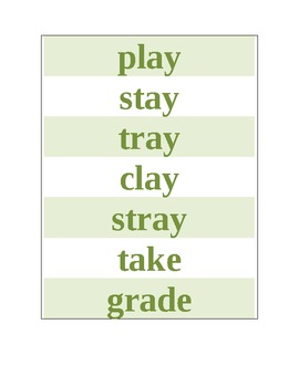 Long a spelled ay, ai, a_e story passage and flashcard practice