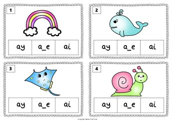 Long a task cards. 20 cards to practice a_e, ai and ay.