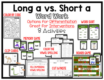 Long A vs. Short A Vowel Word Work