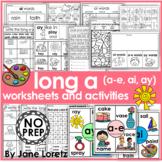 Long a worksheets and activities (a-e, ay and ai) NO PREP