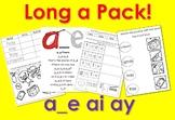 Long a worksheets pack! a_e, ai, ay