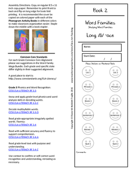 Book 2 Long /ā/ - ace Word Families for k-6 Grades and Intervention!