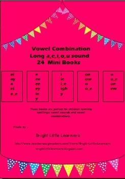 Long a,e,i,o,u sound Vowel Combination Mini Books- Set of 24