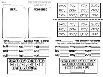 Long ai and ay Word Work Packet