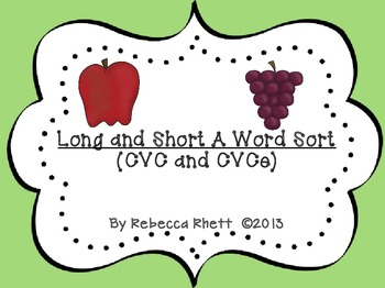 Long and Short A Word Sort (CVC and CVCe)