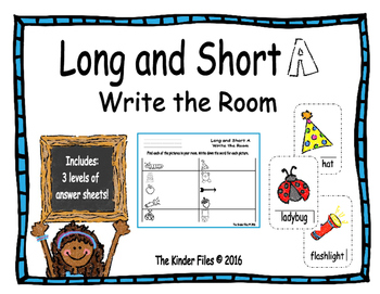 Long and Short A Write the Room- Includes 3 levels of answ