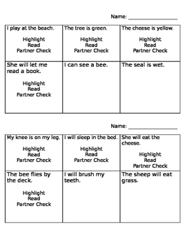 Long and Short E Phonics Activity