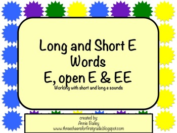 Long and Short E Word Study Sort and Activities (E, EE, & -E)