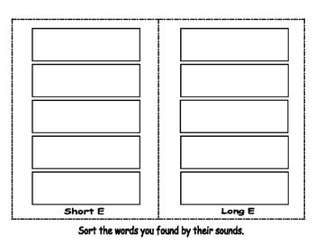 Long and Short E Write the Room- Includes 3 levels of answer sheets