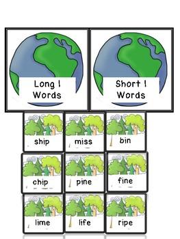 Long and Short I Nature Theme File Folder Game
