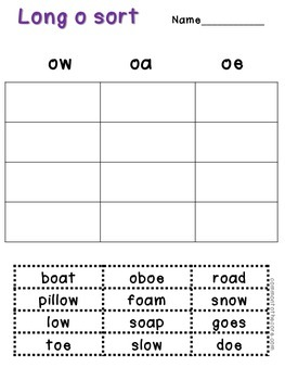 Long and Short O Sort {word work}
