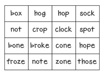 Long and Short O Word Sort (CVC and CVCe)