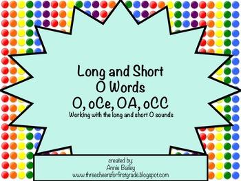 Long and Short O Word Study Sort and Activities (O, oCe, O
