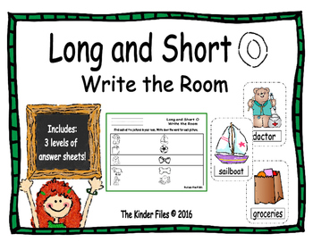 Long and Short O Write the Room- Includes 3 levels of answ