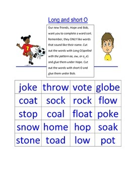 Long and Short O word sort