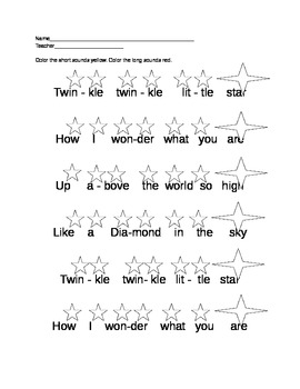 Long and Short Sounds Worksheet (Twinkle Twinkle)