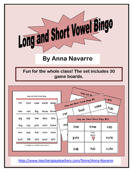 Long and Short Vowel Bingo w/30 Boards
