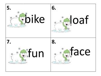 Long and Short Vowel Center and Worksheets--Winter Theme