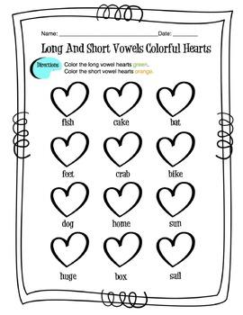 Long and Short Vowel Coloring Worksheets