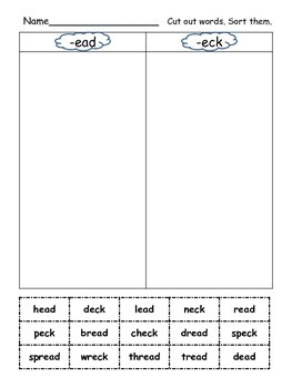 Long and Short Vowel Family Bundle-56 Word Sorts (cut and paste activity)