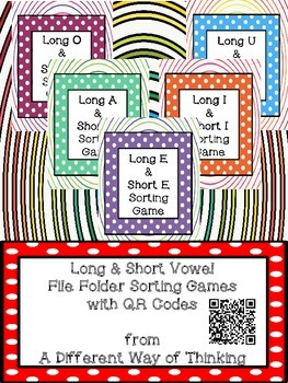 Long and Short Vowel File Folder Sorting Game with QR Codes Packet