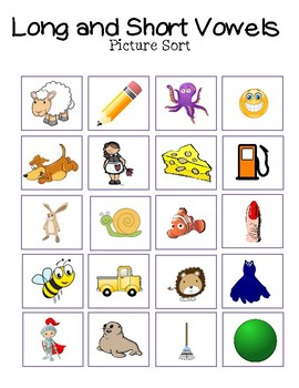 Long and Short Vowel Picture Sort