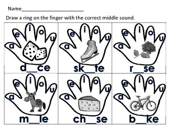 Long and Short Vowel Put a Ring on It Literacy Station Activity Daily 5