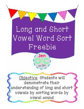 Long and Short Vowel Sort FREEBIE!