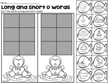 Long and Short Vowel Sort (Penguin Theme)