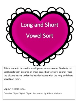 Long and Short Vowel Sort -Valentines Day Hearts