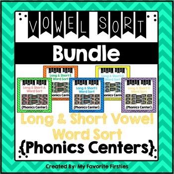 Long and Short Vowel Sorting Center BUNDLE
